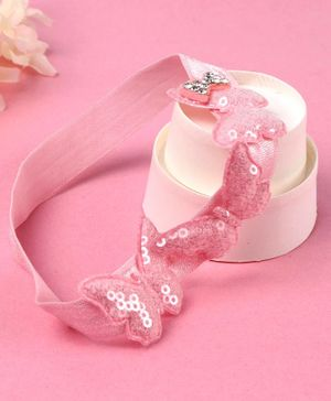 Babyhug Headband with Sequin Butterfly Applique - Pink
