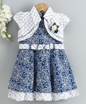 Enfance Core Flower Printed Flared Dress With Checkered Jacket - Blue