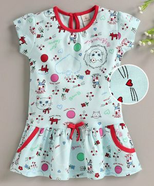 Baby Naturelle & Me Short Sleeves Frock Kitty Print - Blue