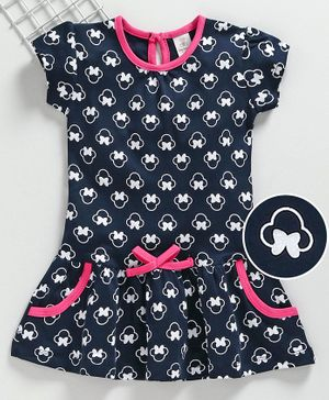 Baby Naturelle & Me Short Sleeves Frock Bow Print - Navy Blue