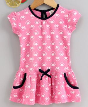 Baby Naturelle & Me Short Sleeves Frock Bow Print - Pink