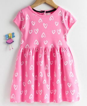 Baby Naturelle & Me Short Sleeves Frock Heart Print - Pink