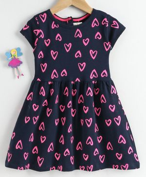 Baby Naturelle & Me Short Sleeves Frock Heart Print - Navy Blue