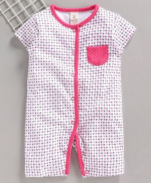 Baby Naturelle & Me Short Sleeves Romper Floral Print - White Pink