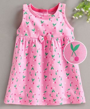 Baby Naturelle & Me Sleeveless Frock Cheery Print - Pink