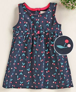 Baby Naturelle & Me Sleeveless Frock Cheery Print - Navy