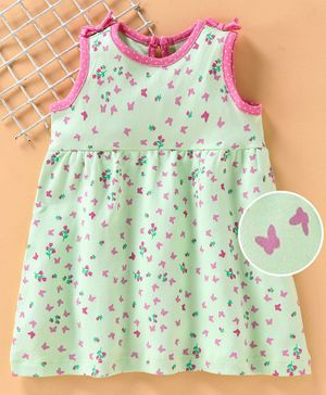 Baby Naturelle & Me Sleeveless Frock Butterfly Print - Green