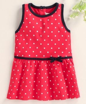 Baby Naturelle & Me Sleeveless Frock Polka Dot Print - Red