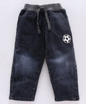 Babyhug Full Length Jeans With Adjustable Elasticated Waist Football Embroidered - Navy