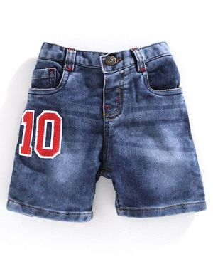 Babyhug Washed Denim Shorts Number 10 Patch - Blue