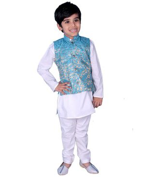 Mittenbooty Full Sleeves Kurta With Jacquard Jacket & Pajama - Blue & White