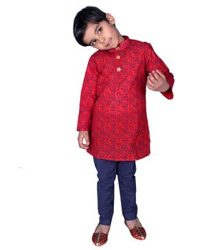 Mittenbooty Abstract Print Full Sleeves Kurta With Pyjama - Red