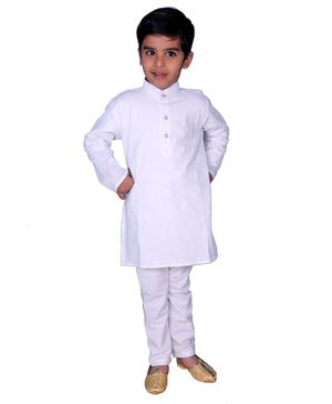 Mittenbooty Solid Full Sleeves Kurta & Pyjama Set - White