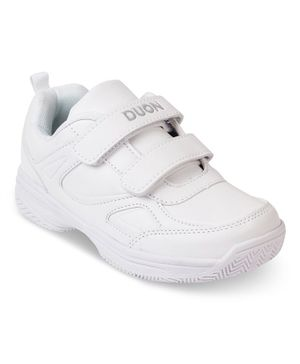 Kittens Shoes Double Velcro School Shoes - White