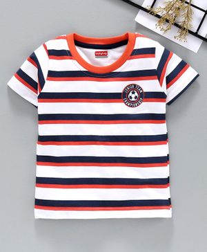 Babyhug Half Sleeves Striped Tee Football Print - White