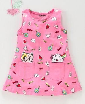 Cucumber Sleeveless Frock Kitty Print - Pink