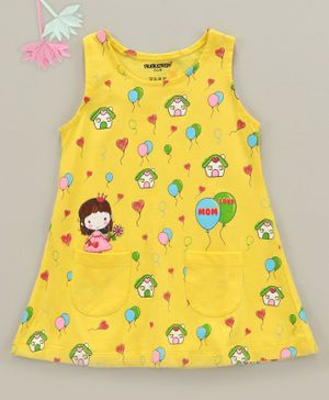 Cucumber Sleeveless Frock Balloon Print - Yellow