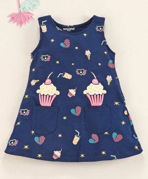 Cucumber Sleeveless Frock Cake Print - Blue