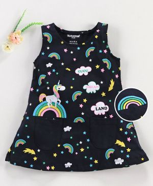 Cucumber Sleeveless Frock Unicorn Print - Black
