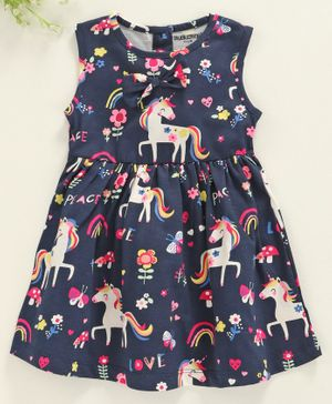 Cucumber Sleeveless Frock Unicorn Design - Navy Blue