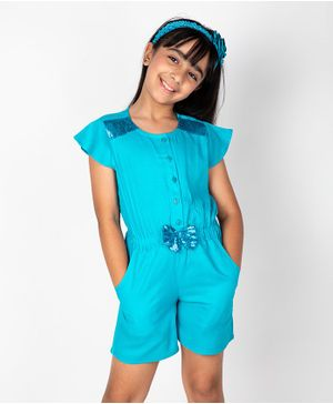 Pikaboo Short Sleeves Sequin Detailing Jumpsuit - Sky Blue