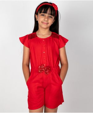 Pikaboo Short Sleeves Sequin Detailing Jumpsuit - Red