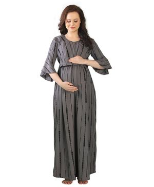 Goldstroms Three Fourth Sleeves Striped Maternity Dress - Grey
