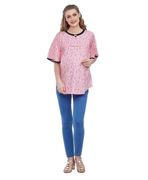 Goldstroms Half Sleeves Flower Printed Maternity Tunic - Pink
