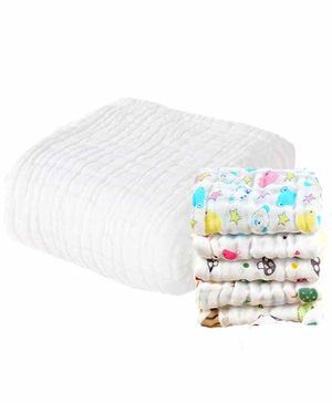 Mom's Home Muslin Towel & Wash Cloths Set Pack of 6 - White
