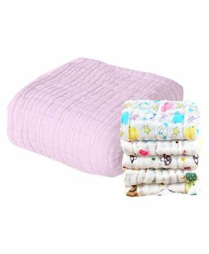Mom's Home Muslin Towel & Wash Cloths Set Pack of 6 - Pink
