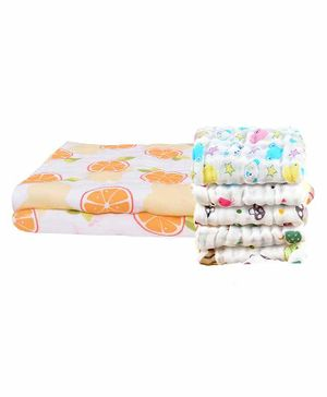 Mom's Home Muslin Fruit Printed Towel & Wash Cloths Set Pack of 6 - White