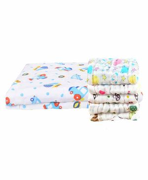 Mom's Home Muslin Printed Towel & Wash Cloths Set Pack of 6 - White