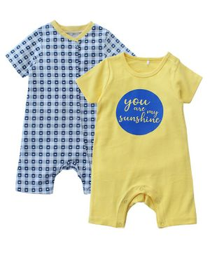 Kadam Baby Hearts Print Half Sleeves Pack Of 2 Rompers - Blue & Yellow