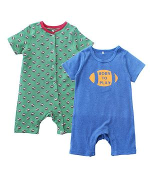 Kadam Baby Born To Play Print Half Sleeves Pack Of 2 Rompers - Green & Blue