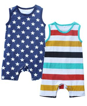 Kadam Baby Striped & Star Print Sleeveless Pack Of 2 Rompers - Multi Color