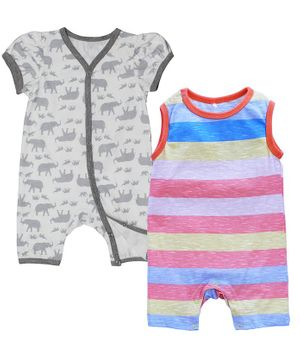 Kadam Baby Elephant Print & Striped Sleeveless Pack Of 2 Rompers - Multi Color