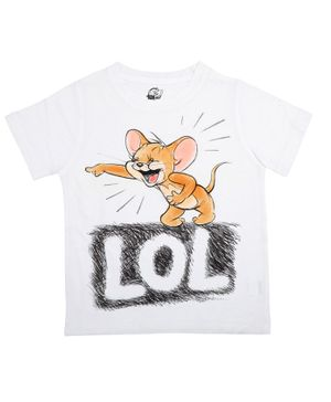 Tom and Jerry By Crossroads LOL Printed Half Sleeves T-shirt - White
