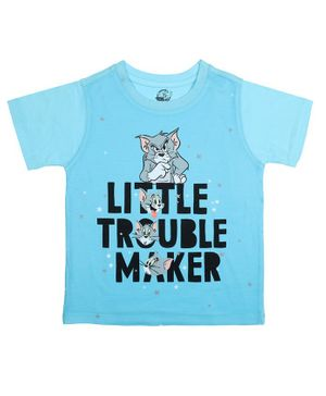 Tom and Jerry By Crossroads Trouble Maker Printed Half Sleeves T-shirt - Blue