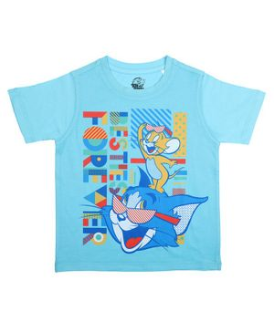 Tom and Jerry By Crossroads Bestie Forever Printed Half Sleeves T-shirt - Blue
