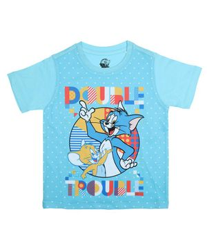 Tom and Jerry By Crossroads Double Trouble Printed Half Sleeves T-shirt - Blue
