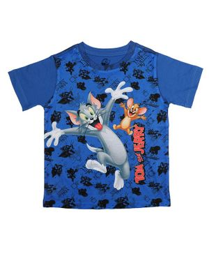Tom and Jerry By Crossroads Printed Half Sleeves T-shirt - Royal Blue