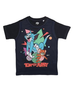 Tom and Jerry By Crossroads Half Sleeves Printed T-shirt - Black