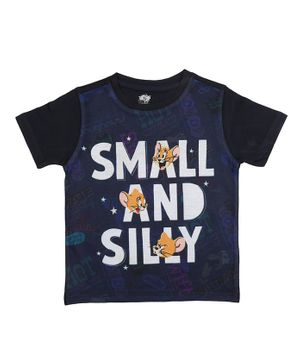 Tom and Jerry By Crossroads Small & Silly Printed Half Sleeves T-shirt - Navy Blue