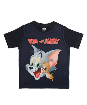 Tom and Jerry By Crossroads Printed Half Sleeves T-shirt - Black