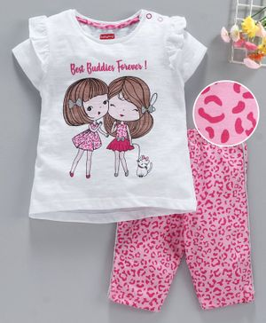 Babyhug Half Sleeves Tee & Shorts Best Friends Forever Print - White Pink