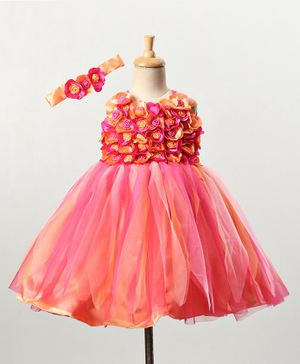 Li&Li BOUTIQUE Sleeveless Flower Applique Flared Dress With Headband - Peach