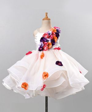 Li&Li BOUTIQUE Sleeveless Flower Applique Flared Dress With Headband - White