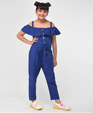M'Andy Half Sleeves Solid Cold Shoulder Jumpsuit - Blue