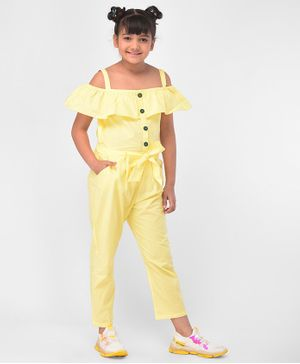 M'andy Solid Cold Shoulder Half Sleeves Buttoned Jumpsuit - Yellow