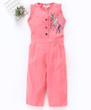 M'andy Unicorn Embroidery Sleeveless Jumpsuit - Peach